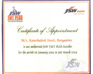 Authorized JSW TMT Plus retailer in Bangalore