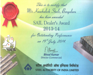 Awarded Best SAIL dealer in Bangalore